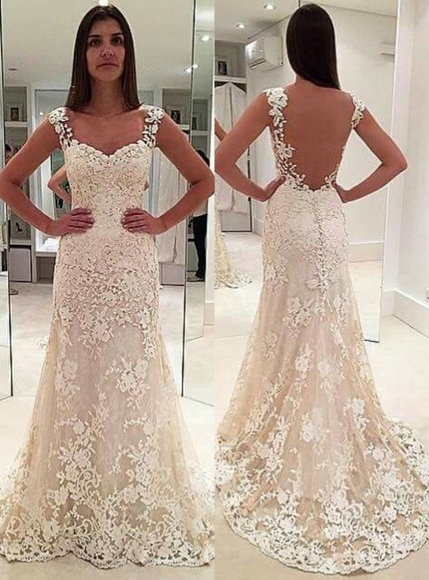 Sexy White Wedding Dresses Lace A Line Straps Wedding Gowns Online