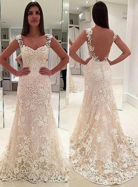 Sexy Weiß Brautkleider Spitze A Linie Träger Hochzeitskleider Online