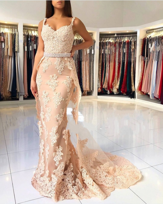 Champagne Lace Evening Dresses Long | Buy cheap prom dresses online