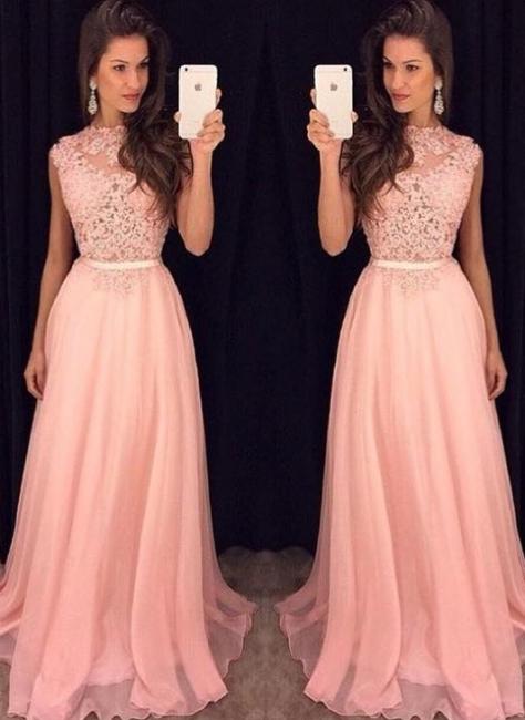Rosa Abendkleider Lang Günstig Chiffon Bodenlang Abendmoden Abiballkleider