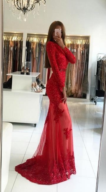 Modern Red Evening Dresses Long Lace Beaded Bondelange Evening Wear Prom Dresses Cheap