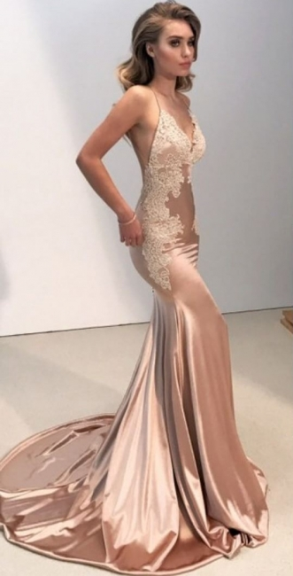Champagne prom dresses long cheap lace backless evening wear online cheap
