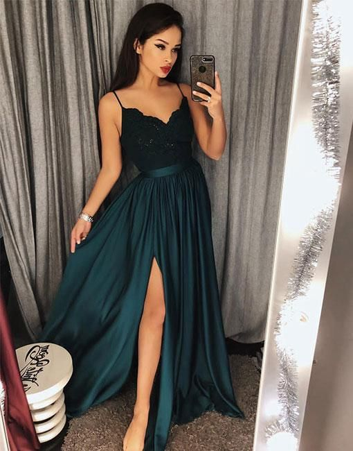 Dark Green Long Evening Dresses With Lace Spaghetti Straps Sheath Dress Evening Wear Cheap Online