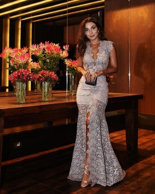 Sexy Abendkleider Mit Spitze | Silber Abendmoden V Ausschnitt