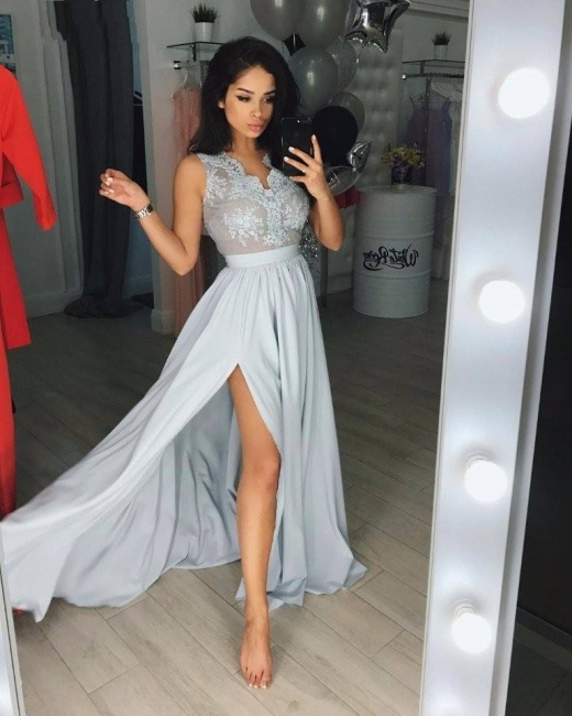 Silver evening dresses long cheap with lace evening wear online