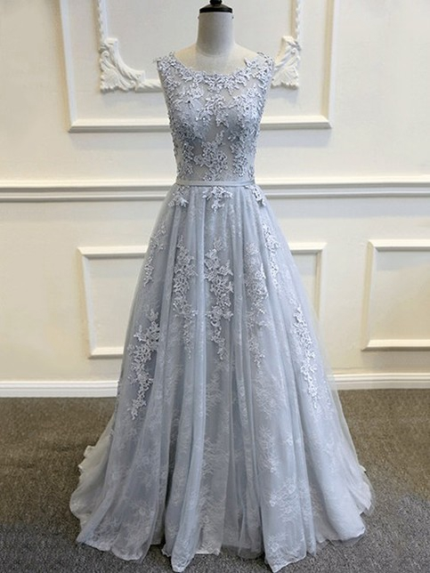 Silver prom dresses lace long cheap evening dresses prom dresses