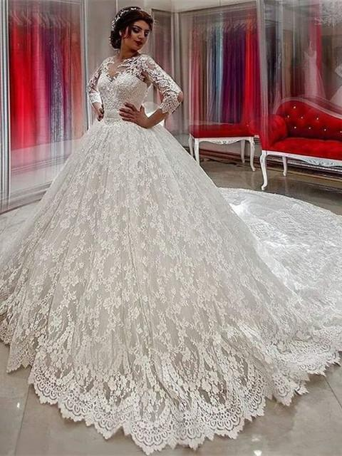 Cream Wedding Dresses Lace With Sleeves Princess Wedding Gowns Cheap Online