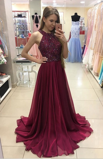 Wine Red Evening Dresses Long Cheap Chiffon Floor Length Prom Dresses Party Dresses Beaded