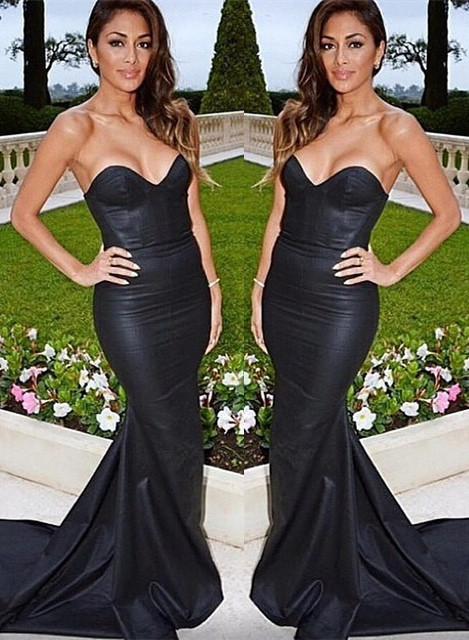 Black evening dresses prom dresses heart mermaid evening wear prom dresses