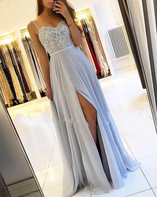 Sexy Silver Evening Dresses Long Chiffon | Evening dress with lace online