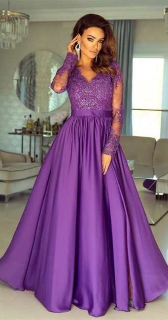 Modern Evening Dresses Long With Sleeves | Buy lace prom dresses online