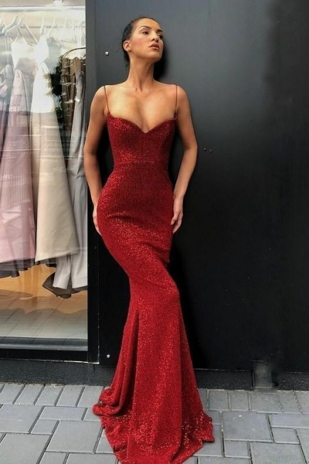 Elegant red evening dresses long | Prom dresses with glitter cheap
