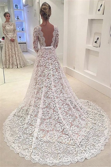 Lang Ärmel Brautkleider Spitze Weiß A Linie Brautmoden Hochzeitskleider