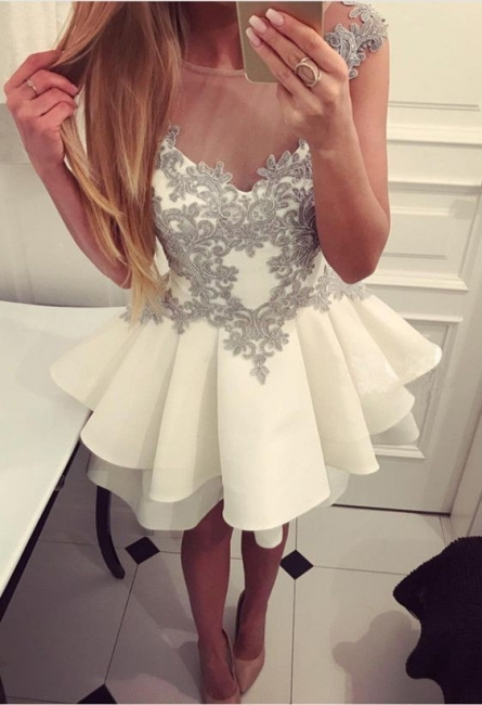 Simple white cocktail dresses short with lace a line prom dresses cheap