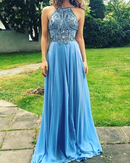 Chiffon Evening Dresses Long Cheap | Backless blue evening dress