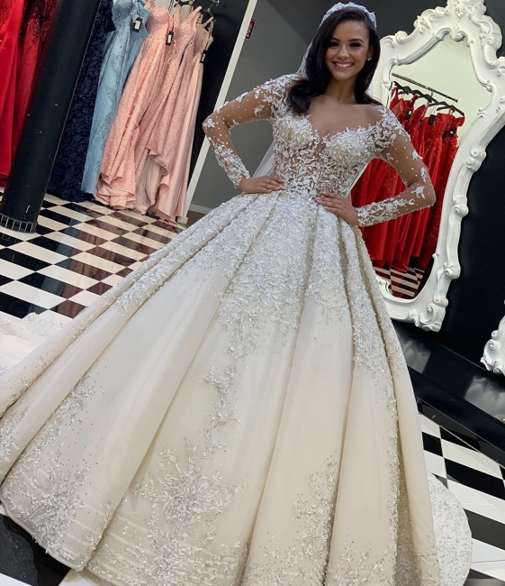 Luxury wedding dresses with lace | Wedding dresses with sleeves online