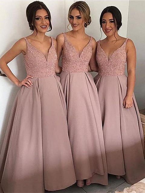 Lange Brautjungfernkleider Rosa A Linie Spaghetti Träger Kleider Für Brautjungfern