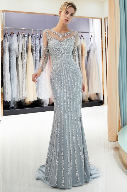 Luxury silver evening dresses with sleeves crystal prom dresses evening wear