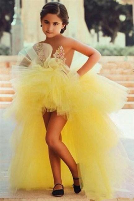 Gelb Blumenmädchenkleider Vorne Kurz Hinter Lang Kinderkleider für Hochzeit