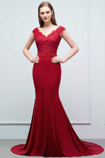 Cheap evening dresses red with lace mermaid evening wear for sale online