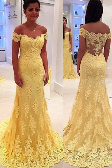 Yellow Long Evening Dresses Lace Cheap Mermaid Evening Wear Party Dresses Cheap