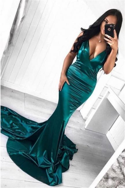 Elegant green evening dresses long cheap mermaid prom dresses evening wear online