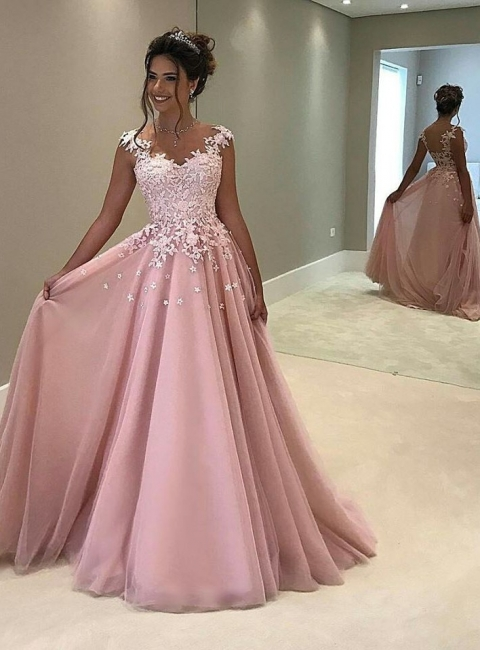 Elegant Evening Dresses Long Pink Evening Wear Prom Dresses