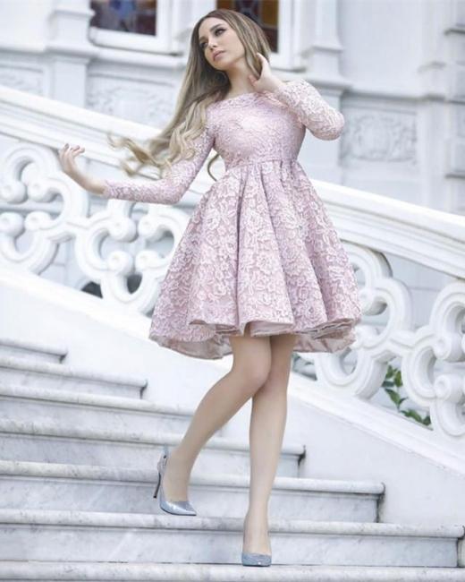 Rosa Cocktailkleider Kurz A linie Mini Abendkleider Mit Ärmel