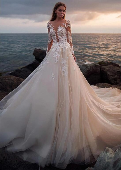 Luxury wedding dresses with sleeves | Wedding dresses a line with lace