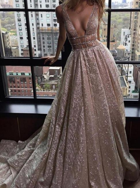 Elegante Abendkleider Lang Günstig Pailletten A Linie Abiballkleider Abendmoden