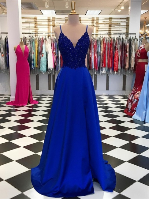 King Blue Evening Dresses Long Cheap | Floor-length evening wear with lace
