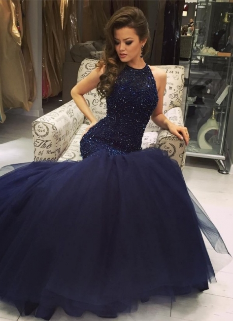 Blue prom dresses long princess tulle evening wear party dresses