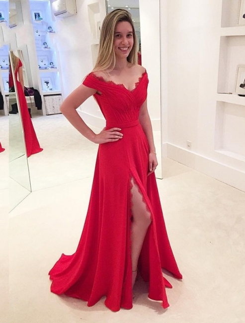 Simple evening dresses long red with lace chiffon evening wear prom dresses online