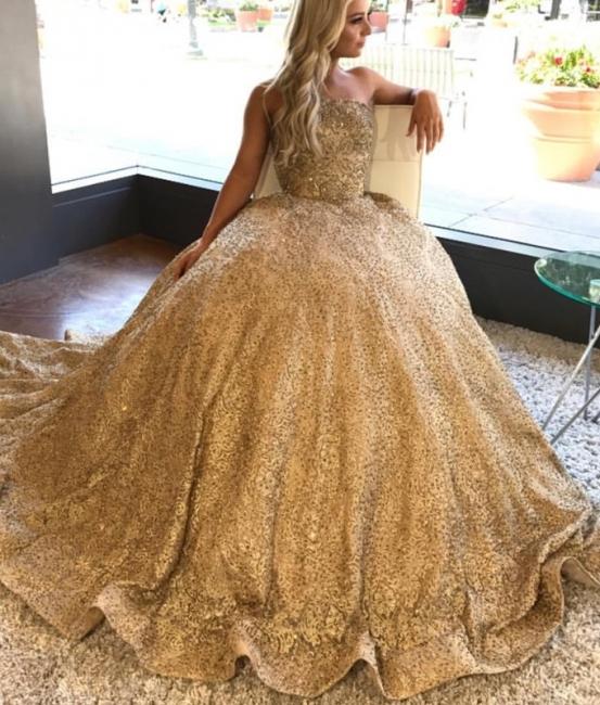 Golden Princess Wedding Dresses Sequins Floor Length Bridal Fashion Wedding Gowns Cheap