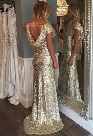 Simple Evening Dresses Long Gold Sequins Prom Dresses Evening Wear