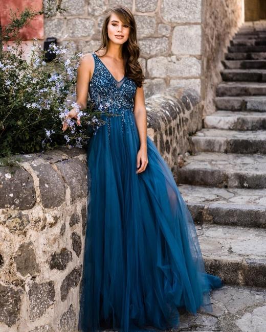 Designer Abendkleider Lang V Ausschnitt | Abendmode Blau Online