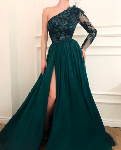 Dark green evening dresses with sleeves | Lace evening dress chiffon