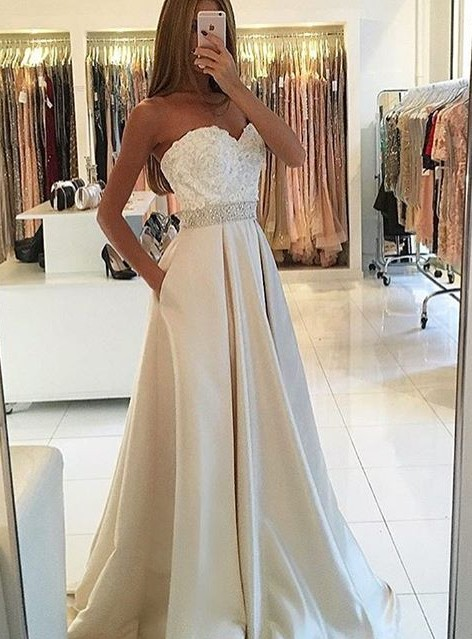 White Evening Dresses Long With Lace A Line Satin Evening Wear Prom Dresses