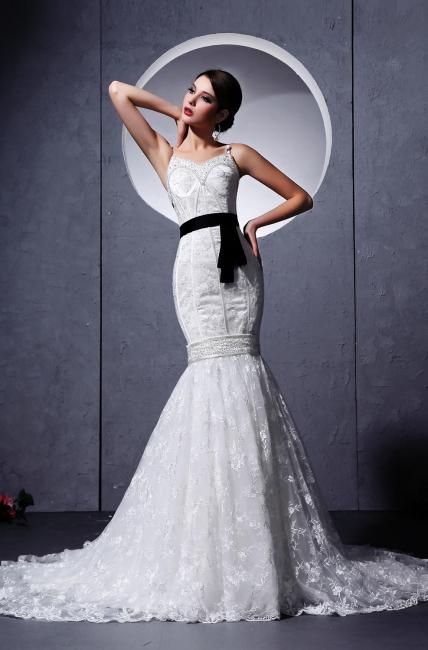 Modern Brautkleider Weiß Spitze Spaghetti Strap Meerjungfrau Brautmoden Hochzeitskleider Mit Schleppe