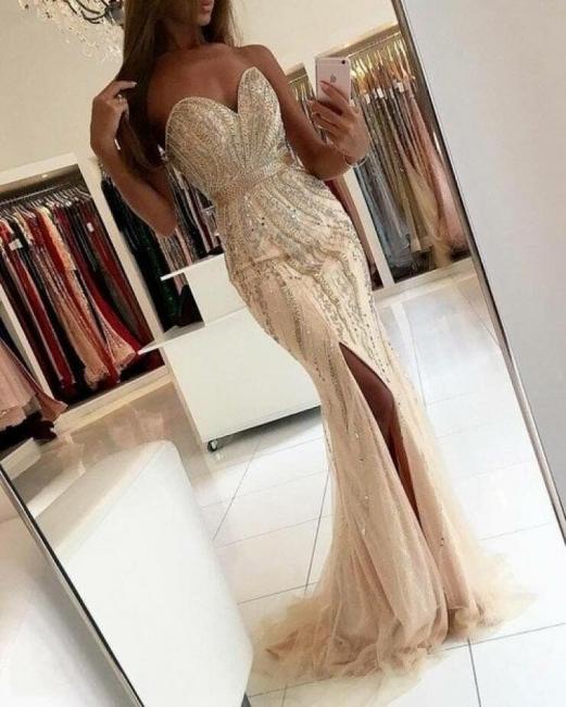 Luxury evening dresses long cheap beaded mermaid evening wear prom dresses online