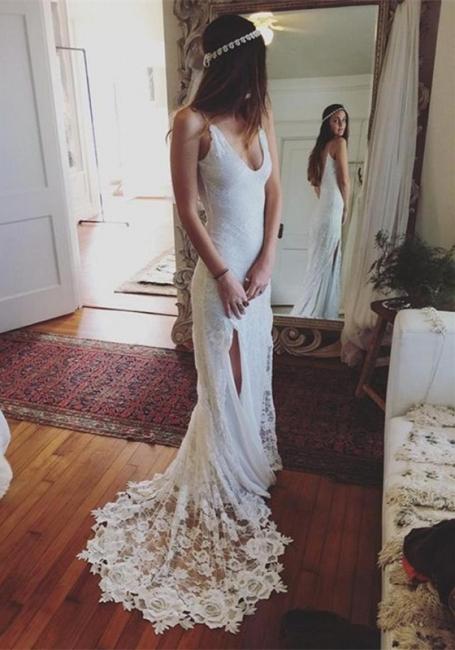 Neue Brautkleider Weiß Spitze Etuikleider Rückenfrei Hochzeitskleider