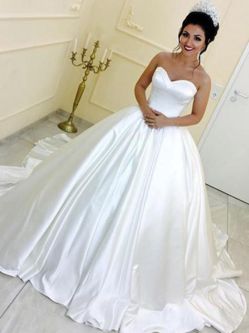 Schlichte Brautkleider Prinzessin Weiß Satin Hochzeitskleider Online