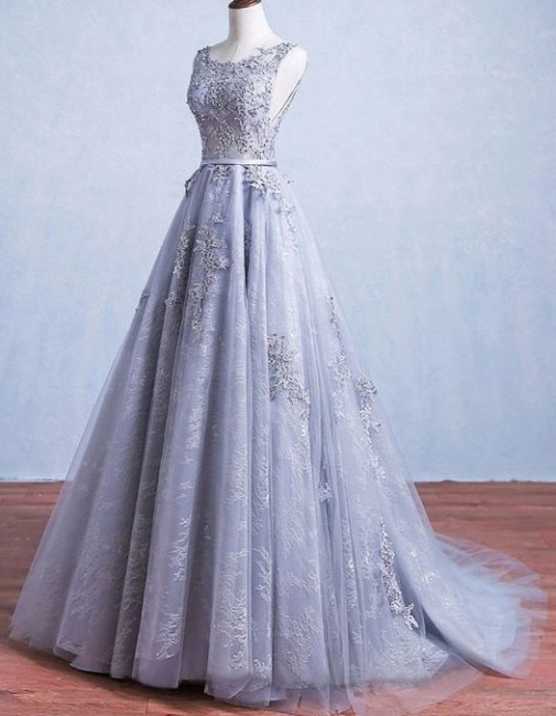 Elegant Silver Wedding Dresses Lace Straps Tulle Bridal Gowns Wedding Dress