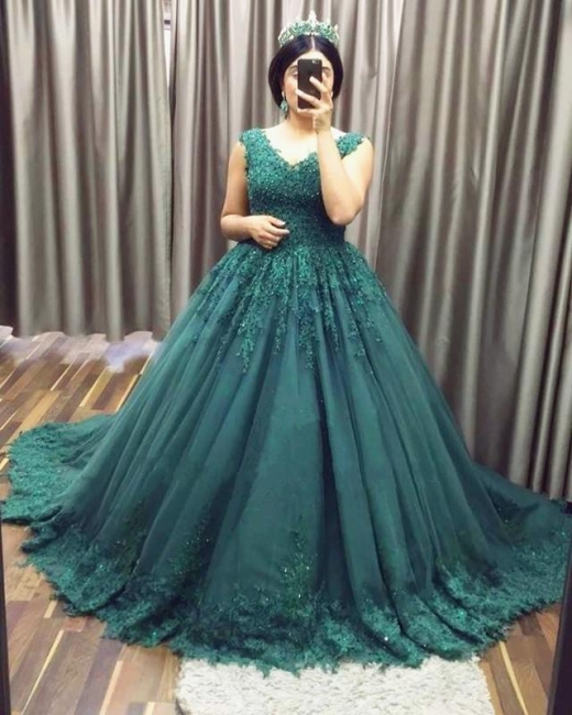 Modern Evening Dresses Green With Lace Tulle Princess Evening Wear Prom Dresses