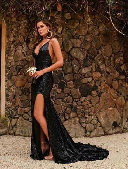 Modern Abendkleid Lang Schwarz | Abiballkleider Günstig Online