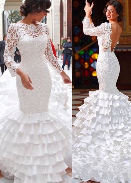 Modern wedding dresses with sleeves lace wedding gowns cheap online