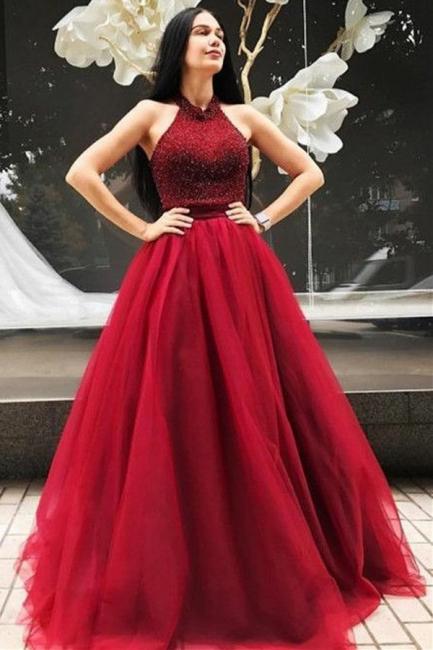 Elegante Rote Abendkleider Lang Günstig Tüll Bodenlang Abendmoden Abiballkleider