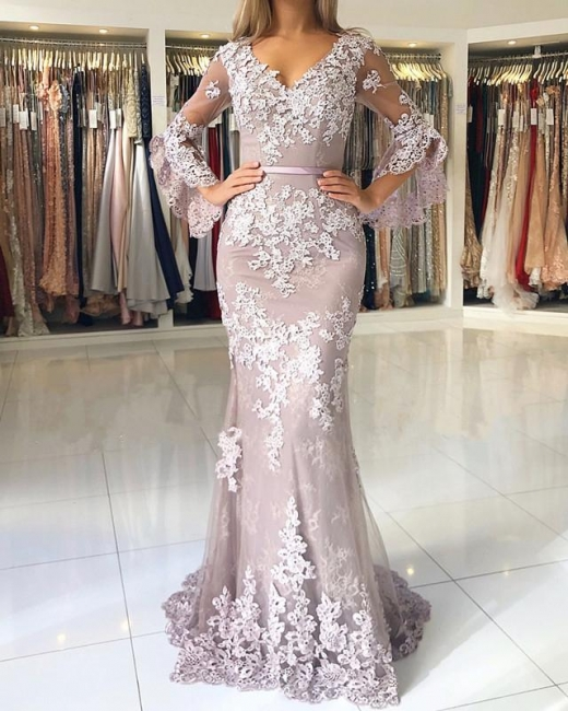 Fashion Evening Dresses Long Lace With Sleeves Floor Length Evening Wear Prom Dresses Online