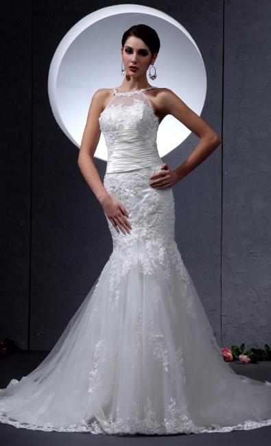 Cheap Lace Wedding Dresses Halter Mermaid Style Bridal Wedding Dresses With Train
