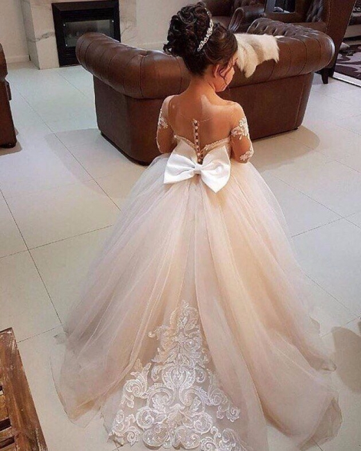 Cheap Flower Girl Dresses With Sleeves Lace A Line Tulle Dresses For Flower Girl Wedding Gowns